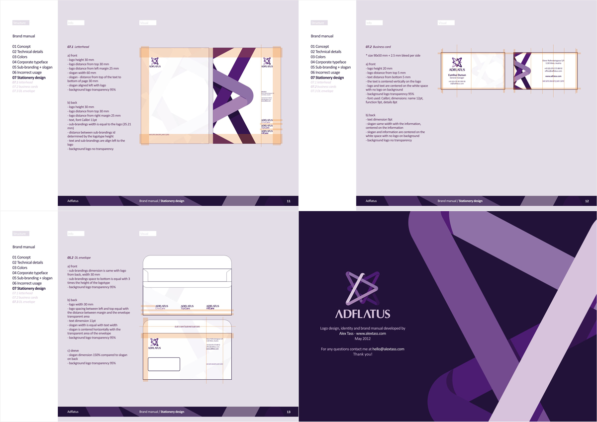 Adflatus, interior design studio company, logo, identity, stationery, branding manual design by UTOPIA branding agency