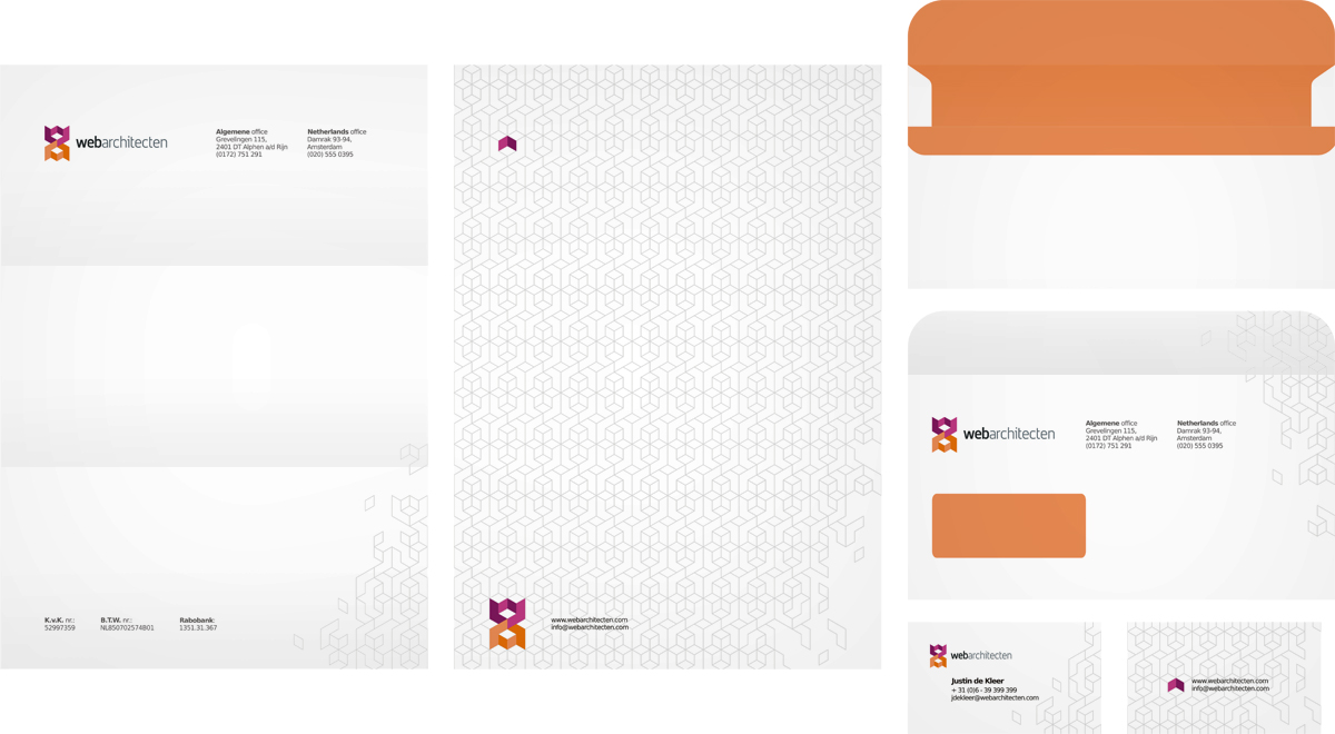Web Architecten, web design studio, online advertising agency, logo design, envelope design, letterhead design, business cards design, stationery design by Utopia branding agency