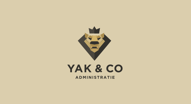 Yak and co administratie, origami lion, financial administration company, logo design by Utopia branding agency