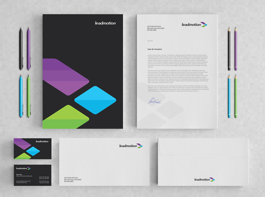 leadmotion mobile advertising logo, identity, stationery design
