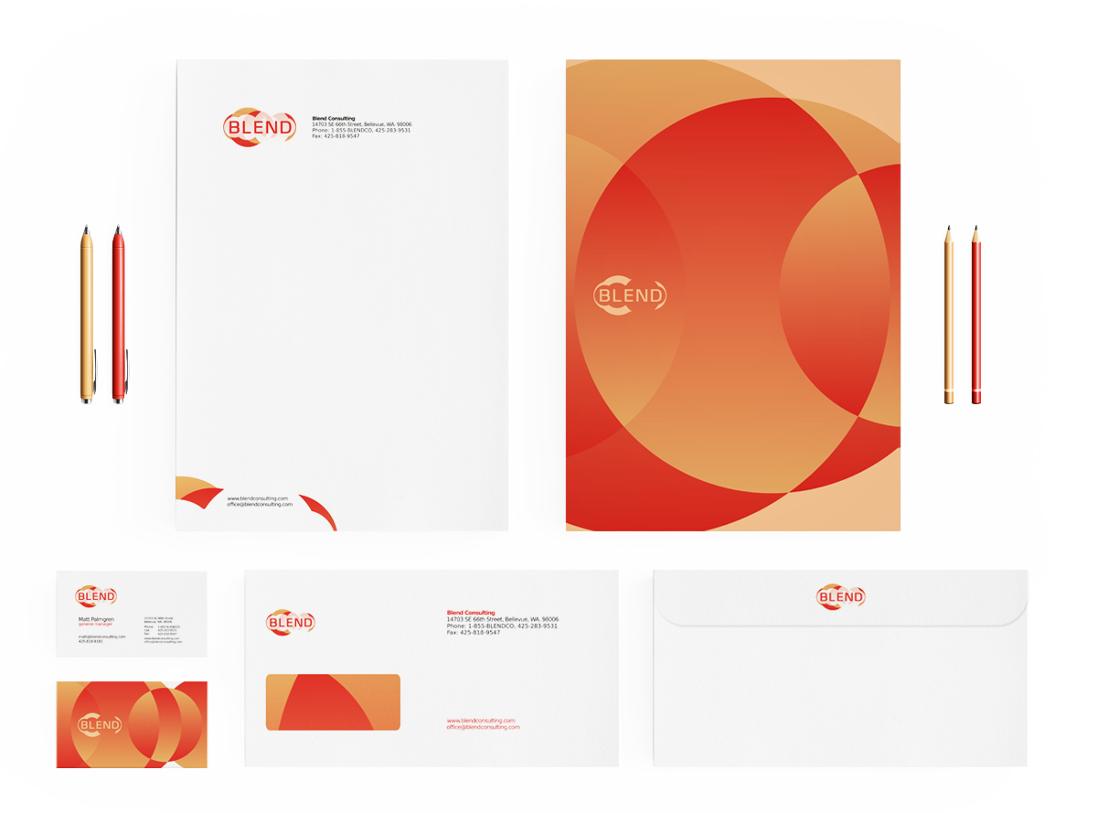 blend consulting company stationery design