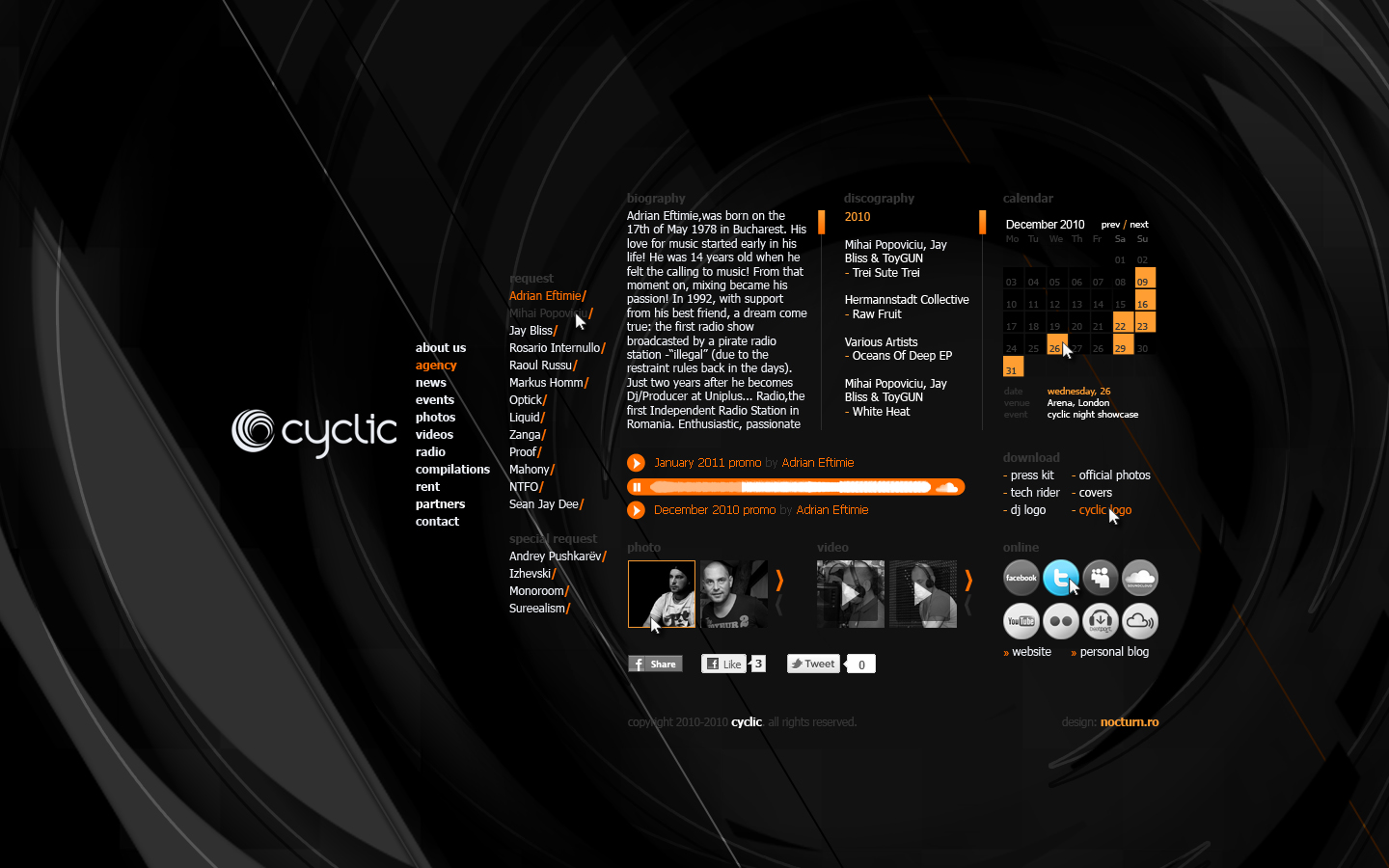 cyclic dj booking agency records label - artist page - web website design by Utopia branding agency