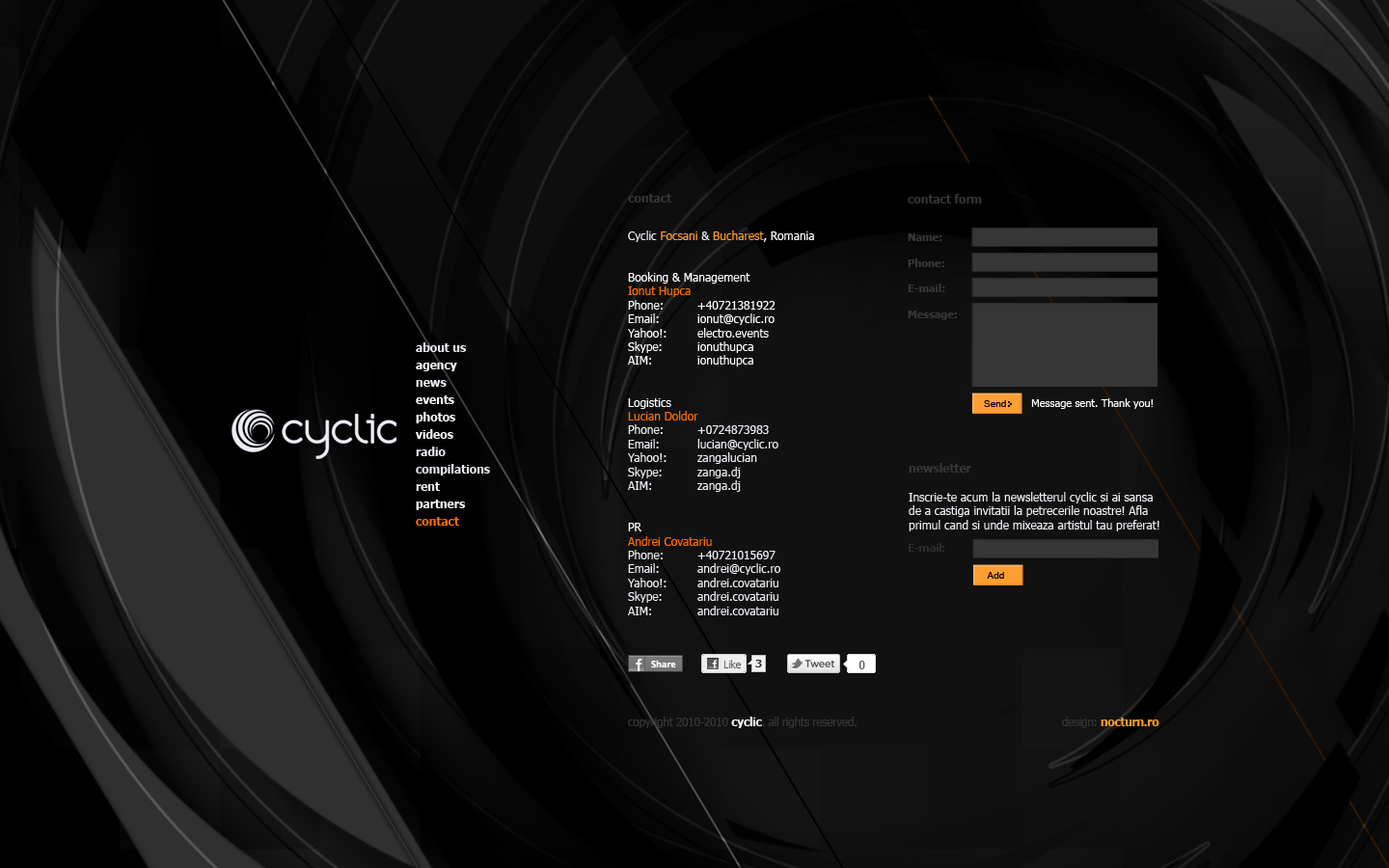 cyclic dj booking agency records label - contact page - web website design by Utopia branding agency