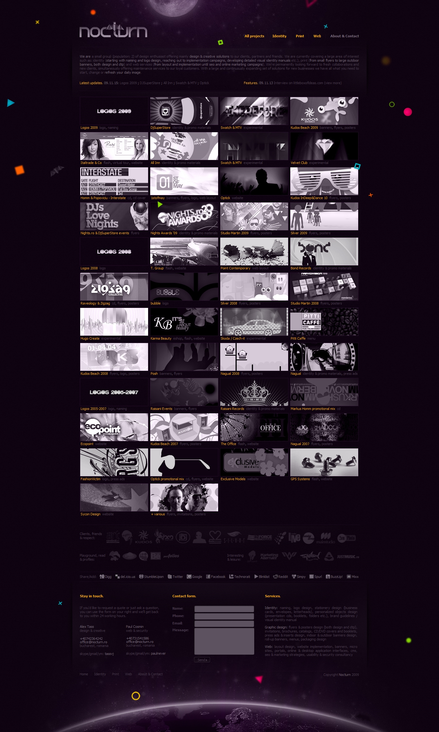 Nocturn - logo, identity and graphic design studio - portfolio website layout design