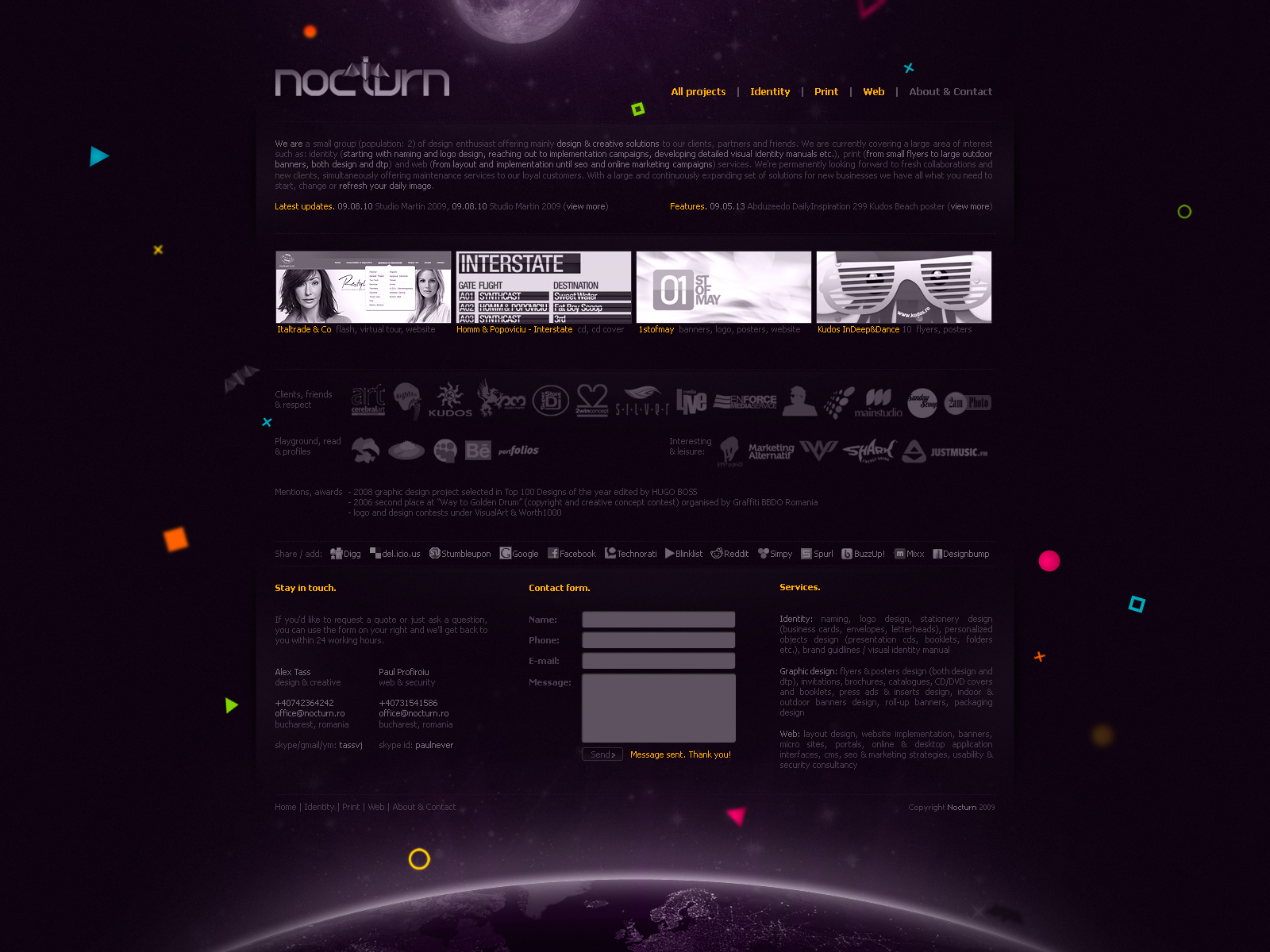 Nocturn - logo, identity and graphic design studio - portfolio website layout design