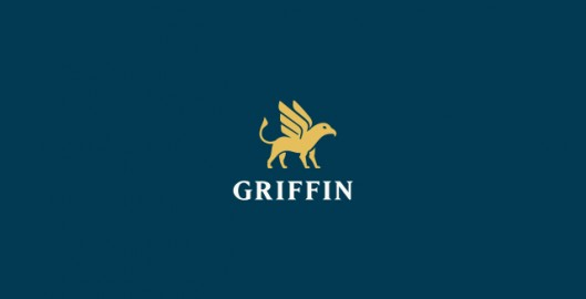 Griffin, online electronic payments software platform, griffon, eagle, lion, gold, treasure, treasurer, logo design by Utopia branding agency