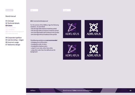 adflatus interior design logo design identity design branding manual 05 reversed colors