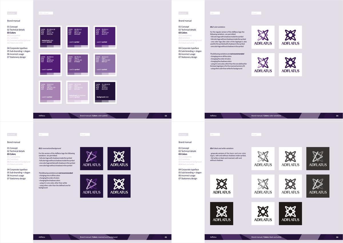 Adflatus, interior design studio company, logo, identity, stationery, branding manual design by UTOPIA branding agency