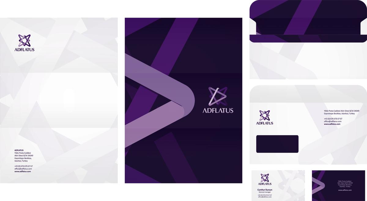 Adflatus, interior design studio company, letterhead design, business card design, envelope design, stationery design by UTOPIA branding agency