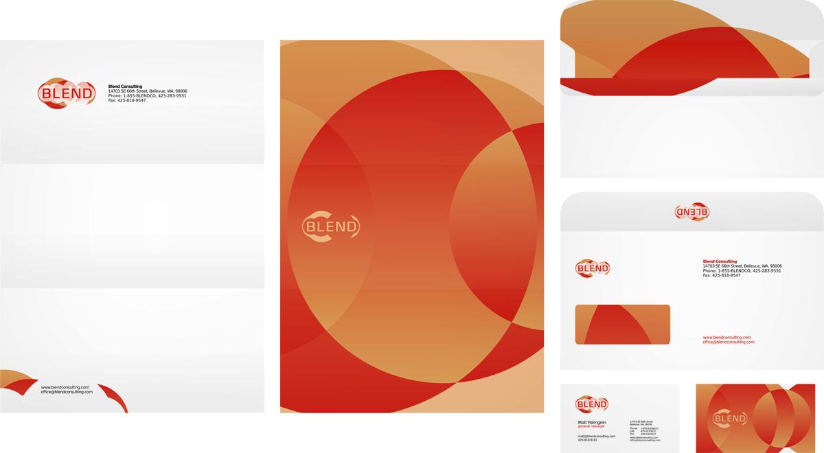 Blend consulting, management consulting company, logo design, letterhead design, envelope design, business card design, stationery design by Utopia branding agency