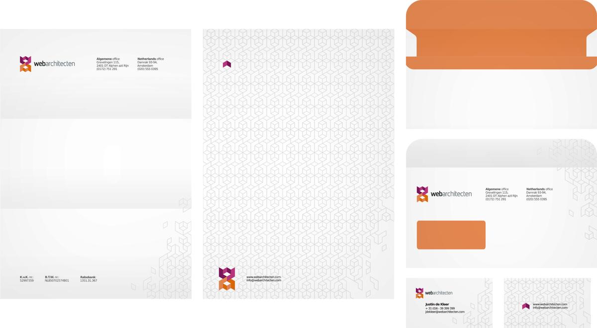 Web Architecten, web design studio, online advertising agency, logo design, envelope design, letterhead design, business cards design, stationery design by Utopia branding agency