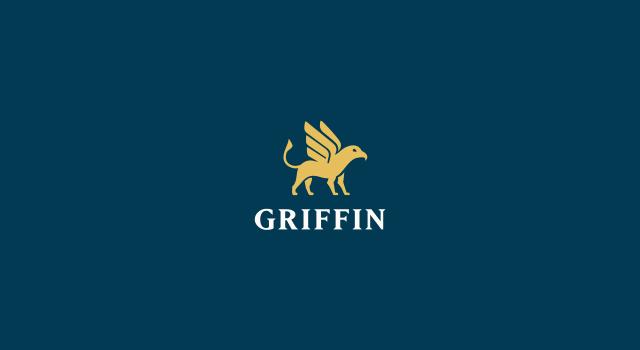Griffin, online electronic payments software platform, griffon, eagle, lion, gold, treasure, treasurer, logo design by Utopia branding agency