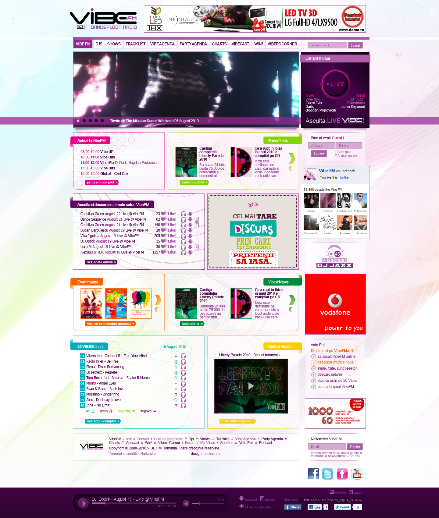 Vibe FM electronic dance music radio station website layout design by Utopia branding agency