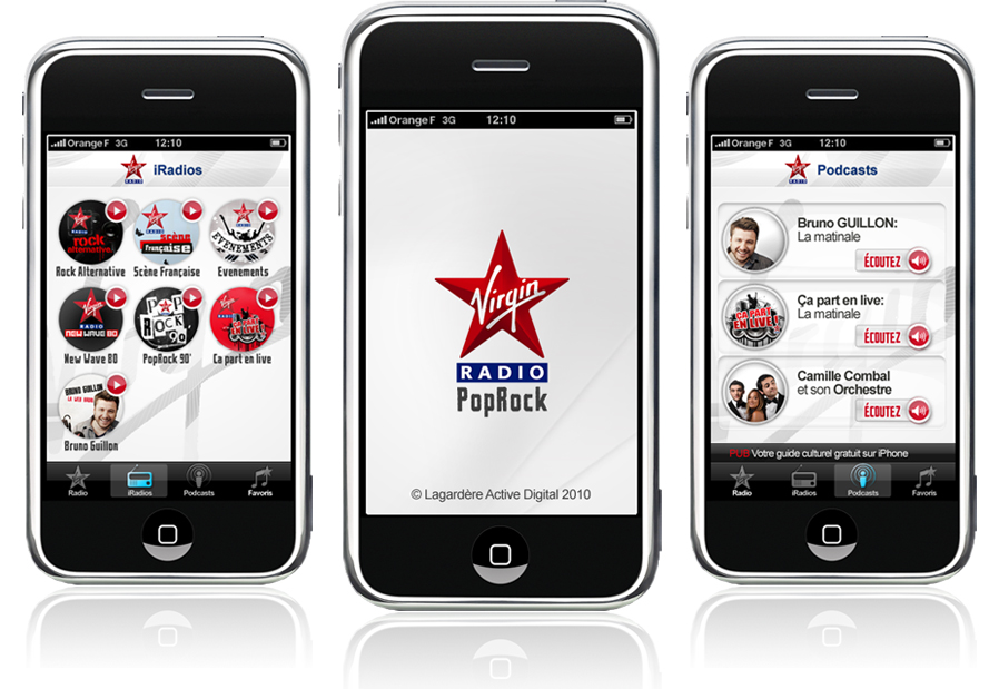 Virgin Radio France iPhone app application interface re-design