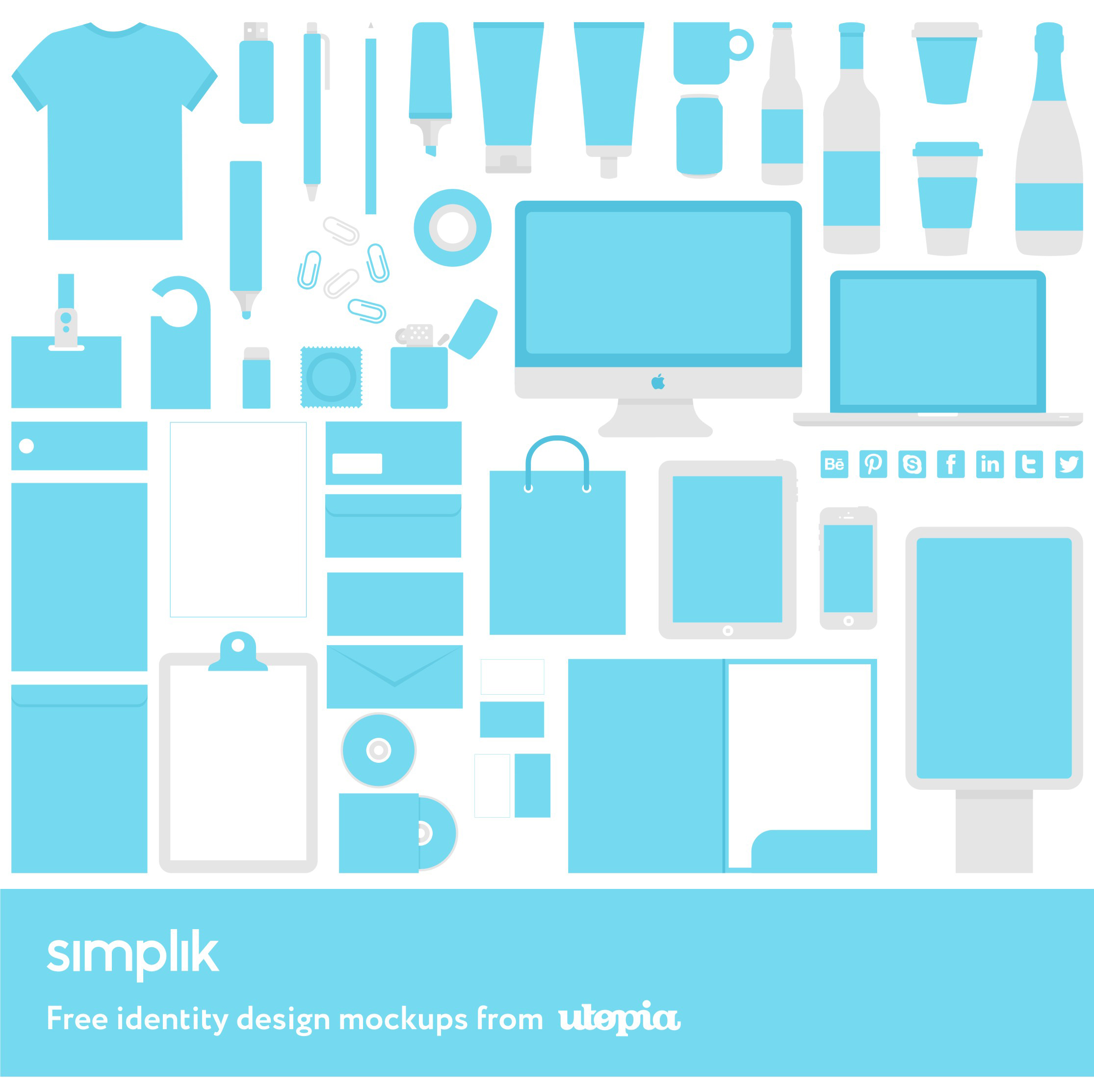 Simplik, full corporate identity design mockups freebie giveaway from Utopia branding agency