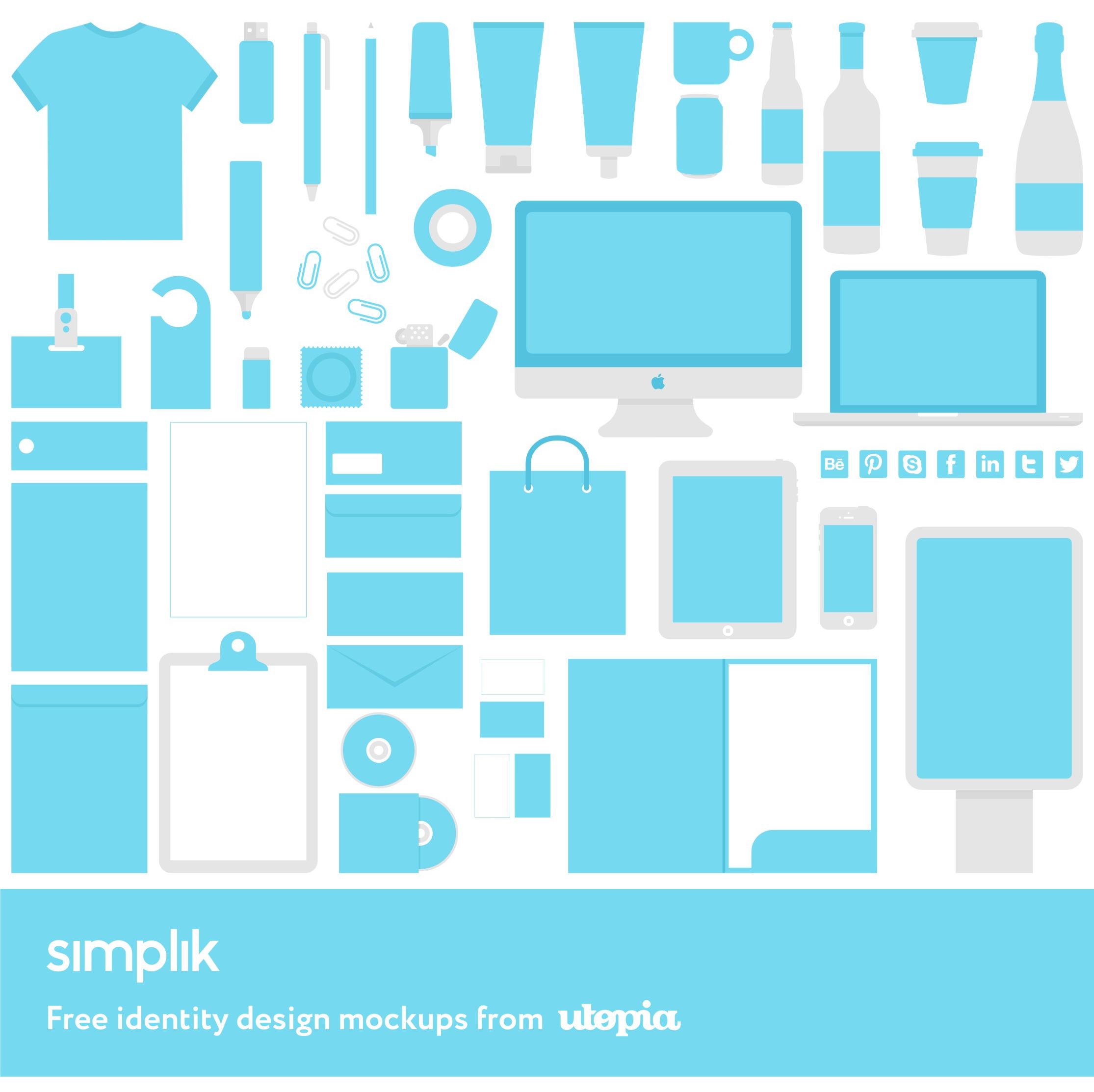 Simplik, full corporate identity design mockups freebie giveaway from Utopia branding agency